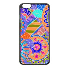 Pop Art Paisley Flowers Ornaments Multicolored 3 Apple Iphone 6 Plus/6s Plus Black Enamel Case