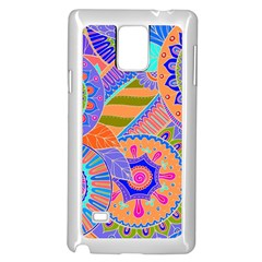 Pop Art Paisley Flowers Ornaments Multicolored 3 Samsung Galaxy Note 4 Case (white)