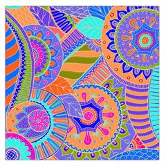 Pop Art Paisley Flowers Ornaments Multicolored 3 Large Satin Scarf (square)