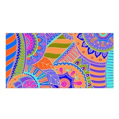 Pop Art Paisley Flowers Ornaments Multicolored 3 Satin Shawl