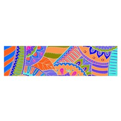 Pop Art Paisley Flowers Ornaments Multicolored 3 Satin Scarf (oblong) by EDDArt