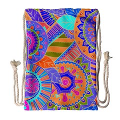 Pop Art Paisley Flowers Ornaments Multicolored 3 Drawstring Bag (large)