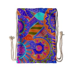 Pop Art Paisley Flowers Ornaments Multicolored 3 Drawstring Bag (small)