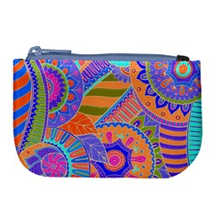 Pop Art Paisley Flowers Ornaments Multicolored 3 Large Coin Purse