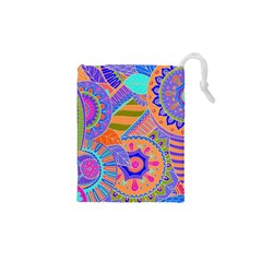 Pop Art Paisley Flowers Ornaments Multicolored 3 Drawstring Pouches (xs)