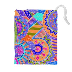 Pop Art Paisley Flowers Ornaments Multicolored 3 Drawstring Pouches (extra Large)
