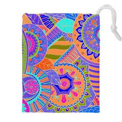 Pop Art Paisley Flowers Ornaments Multicolored 3 Drawstring Pouches (xxl)
