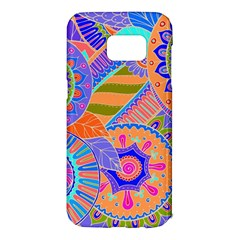 Pop Art Paisley Flowers Ornaments Multicolored 3 Samsung Galaxy S7 Edge Hardshell Case