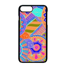Pop Art Paisley Flowers Ornaments Multicolored 3 Apple Iphone 7 Plus Seamless Case (black)