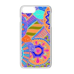 Pop Art Paisley Flowers Ornaments Multicolored 3 Apple Iphone 7 Plus Seamless Case (white)