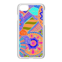 Pop Art Paisley Flowers Ornaments Multicolored 3 Apple Iphone 7 Seamless Case (white)