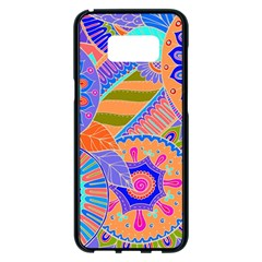 Pop Art Paisley Flowers Ornaments Multicolored 3 Samsung Galaxy S8 Plus Black Seamless Case