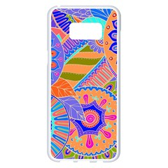 Pop Art Paisley Flowers Ornaments Multicolored 3 Samsung Galaxy S8 Plus White Seamless Case