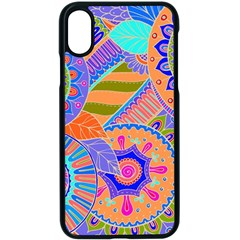 Pop Art Paisley Flowers Ornaments Multicolored 3 Apple Iphone X Seamless Case (black)