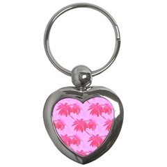 Palm Trees Pink Paradise Key Chains (heart)  by CrypticFragmentsColors