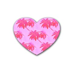 Palm Trees Pink Paradise Rubber Coaster (heart)