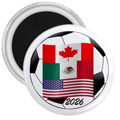 United Football Championship Hosting 2026 Soccer Ball Logo Canada Mexico Usa 3  Magnets