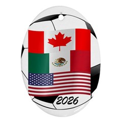 United Football Championship Hosting 2026 Soccer Ball Logo Canada Mexico Usa Ornament (oval)