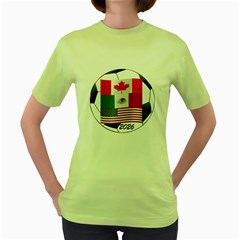 United Football Championship Hosting 2026 Soccer Ball Logo Canada Mexico Usa Women s Green T Shirt