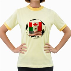 United Football Championship Hosting 2026 Soccer Ball Logo Canada Mexico Usa Women s Fitted Ringer T Shirts
