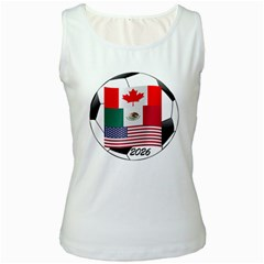 United Football Championship Hosting 2026 Soccer Ball Logo Canada Mexico Usa Women s White Tank Top