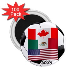 United Football Championship Hosting 2026 Soccer Ball Logo Canada Mexico Usa 2 25  Magnets (100 Pack)