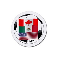 United Football Championship Hosting 2026 Soccer Ball Logo Canada Mexico Usa Rubber Round Coaster (4 Pack)