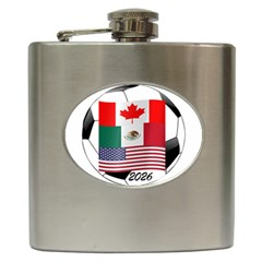 United Football Championship Hosting 2026 Soccer Ball Logo Canada Mexico Usa Hip Flask (6 Oz)