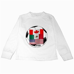 United Football Championship Hosting 2026 Soccer Ball Logo Canada Mexico Usa Kids Long Sleeve T Shirts