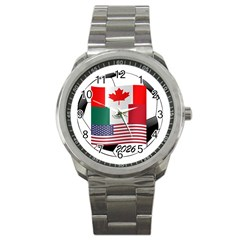 United Football Championship Hosting 2026 Soccer Ball Logo Canada Mexico Usa Sport Metal Watch