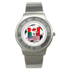 United Football Championship Hosting 2026 Soccer Ball Logo Canada Mexico Usa Stainless Steel Watch