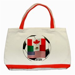 United Football Championship Hosting 2026 Soccer Ball Logo Canada Mexico Usa Classic Tote Bag (red)