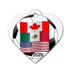 United Football Championship Hosting 2026 Soccer Ball Logo Canada Mexico Usa Dog Tag Heart (one Side)