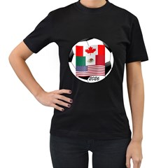 United Football Championship Hosting 2026 Soccer Ball Logo Canada Mexico Usa Women s T Shirt (black)