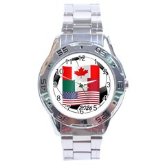 United Football Championship Hosting 2026 Soccer Ball Logo Canada Mexico Usa Stainless Steel Analogue Watch
