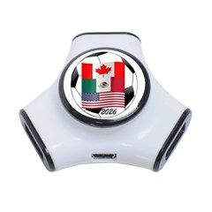 United Football Championship Hosting 2026 Soccer Ball Logo Canada Mexico Usa 3 Port Usb Hub