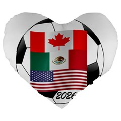 United Football Championship Hosting 2026 Soccer Ball Logo Canada Mexico Usa Large 19  Premium Heart Shape Cushions