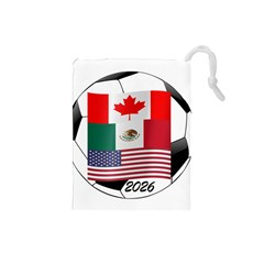 United Football Championship Hosting 2026 Soccer Ball Logo Canada Mexico Usa Drawstring Pouches (small)