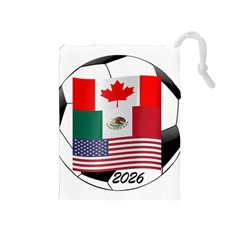 United Football Championship Hosting 2026 Soccer Ball Logo Canada Mexico Usa Drawstring Pouches (medium)