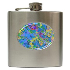 Paint Brushes On A Blue Background                                         Hip Flask (6 Oz)