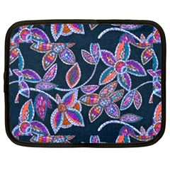 New Beautiful Purple Pink Green Mosaic Flowers Created By Flipstyle Designs Netbook Case (large)