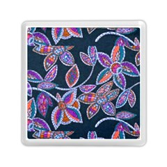New Beautiful Purple Pink Green Mosaic Flowers Created By Flipstyle Designs Memory Card Reader (square)