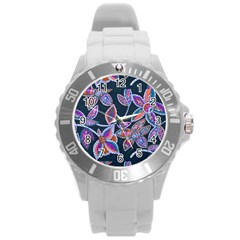 New Beautiful Purple Pink Green Mosaic Flowers Created By Flipstyle Designs Round Plastic Sport Watch (l) by flipstylezdes