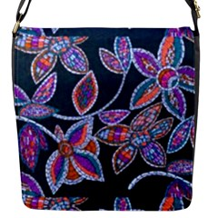 New Beautiful Purple Pink Green Mosaic Flowers Created By Flipstyle Designs Flap Messenger Bag (s)