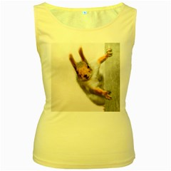 Curious Squirrel Women s Yellow Tank Top