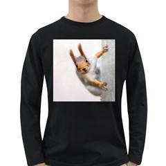 Curious Squirrel Long Sleeve Dark T Shirts