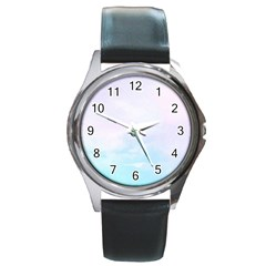 Pastel Pink And Blue Ombre Round Metal Watch