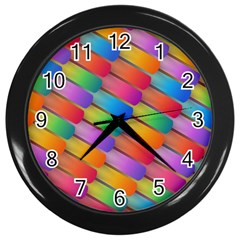 Colorful Textured Shapes Pattern                                      Wall Clock (black)