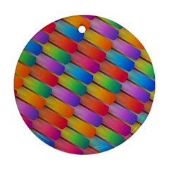 Colorful Textured Shapes Pattern                                      Ornament (round)