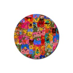 Coloful Strokes Canvas                                    Rubber Round Coaster (4 Pack)
